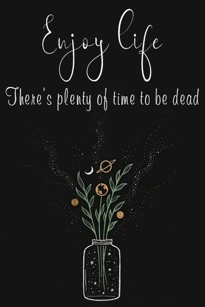 Enjoy life, There's plenty of time to be dead
